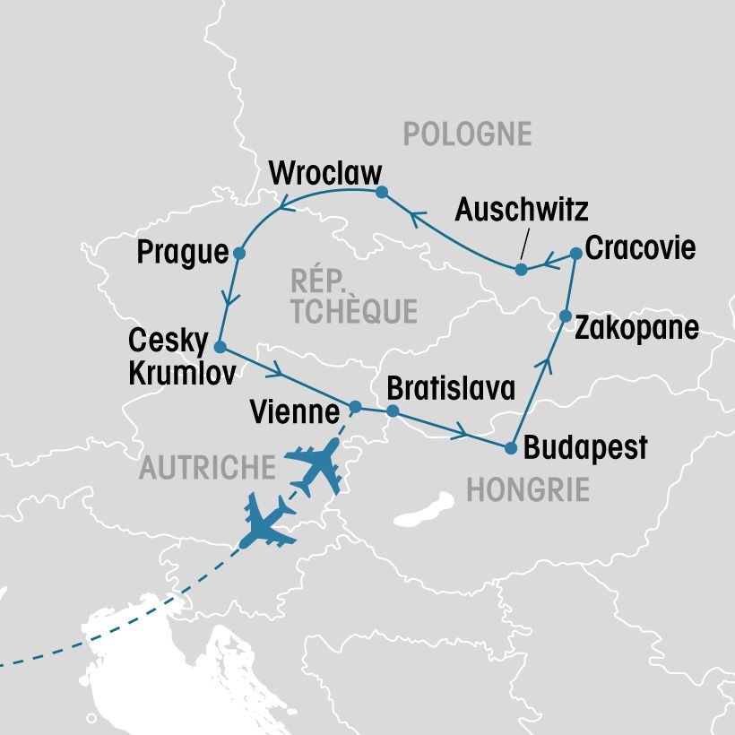 Carte Europe Vienne Prague Budapest.Tresors De L Europe Centrale Groupe Voyages Quebec