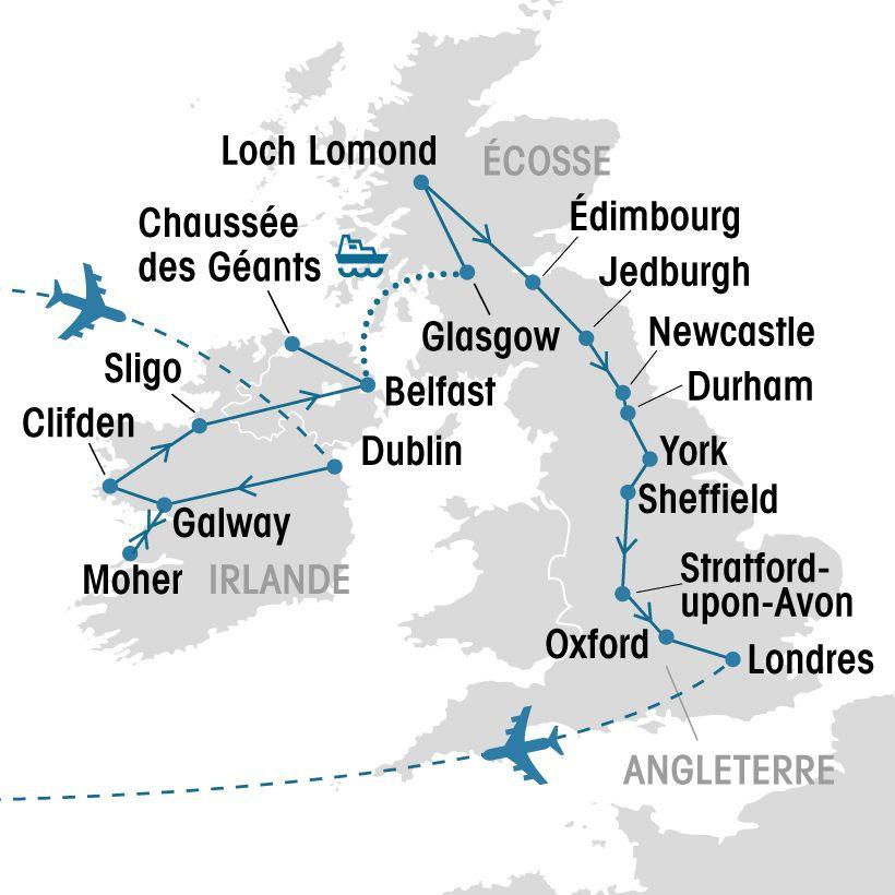 Carte Angleterre Ecosse.Irlande Ecosse Angleterre Groupe Voyages Quebec Leader De L