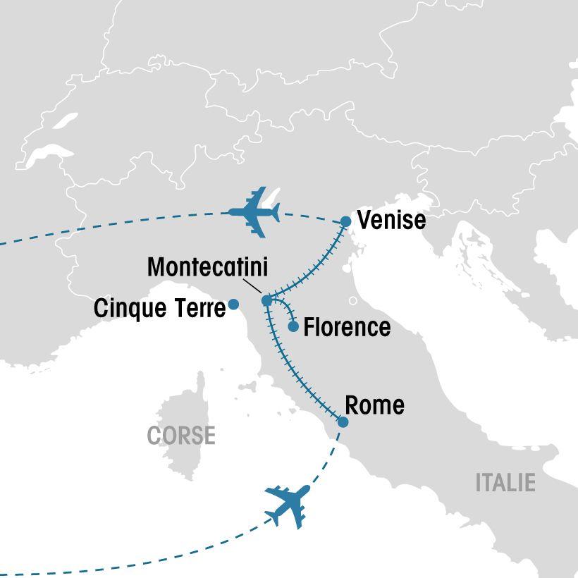 Carte Italie Venise Rome.Rome Florence Et Venise En Train Groupe Voyages Quebec