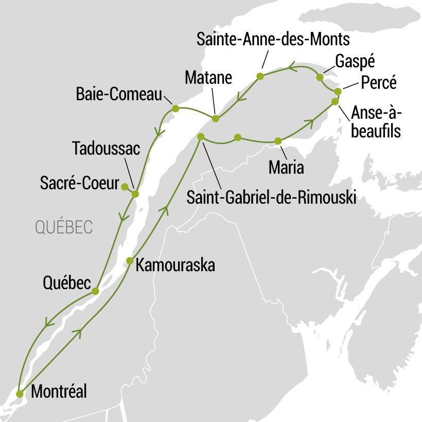 Gaspésie & la Côte Nord en famille map