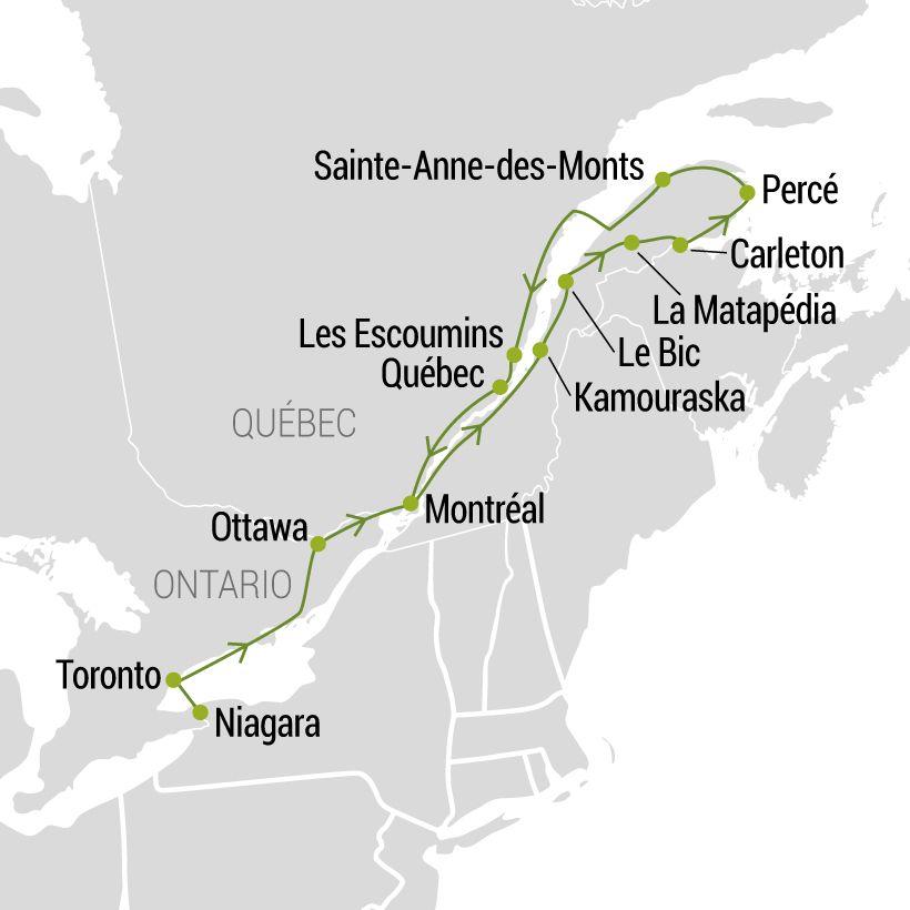 De Niagara à la Gaspésie map