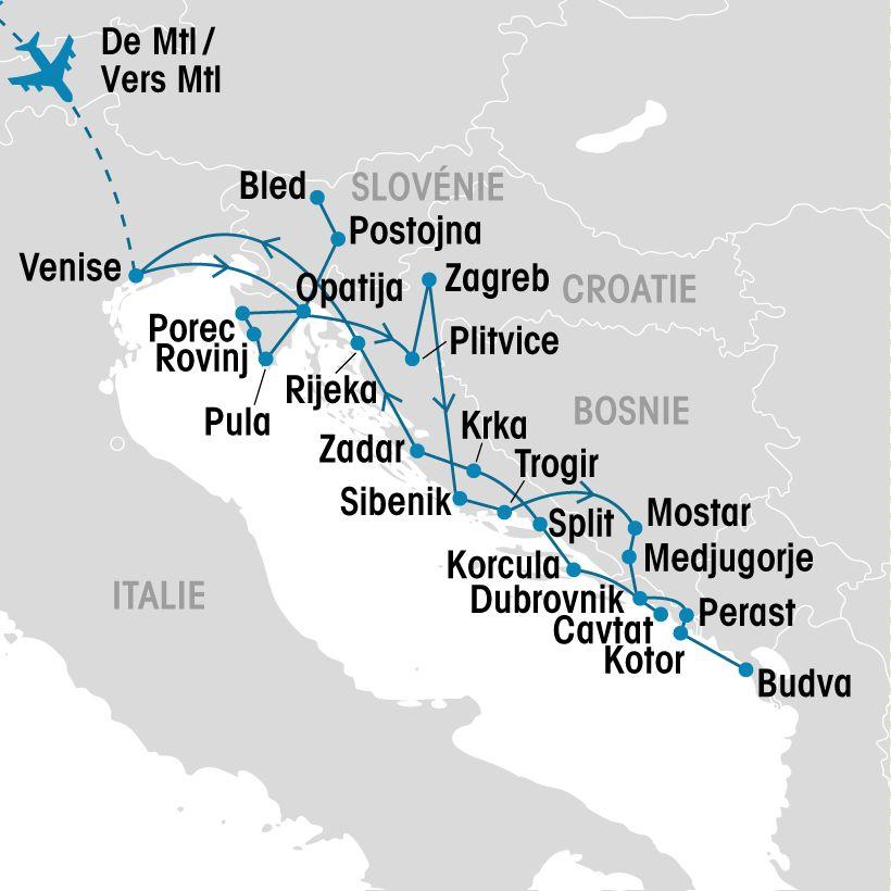 Croatie, Slovénie, Bosnie et Monténégro   Groupe Voyages Québec