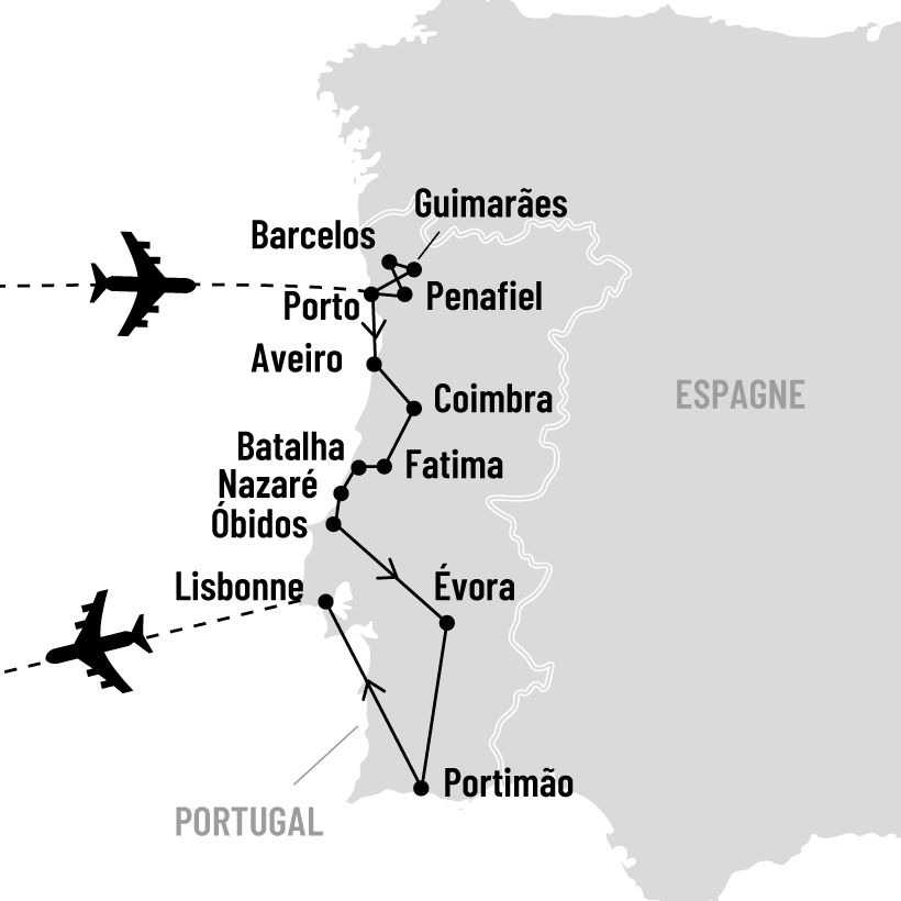 Grand tour et saveurs du Portugal map