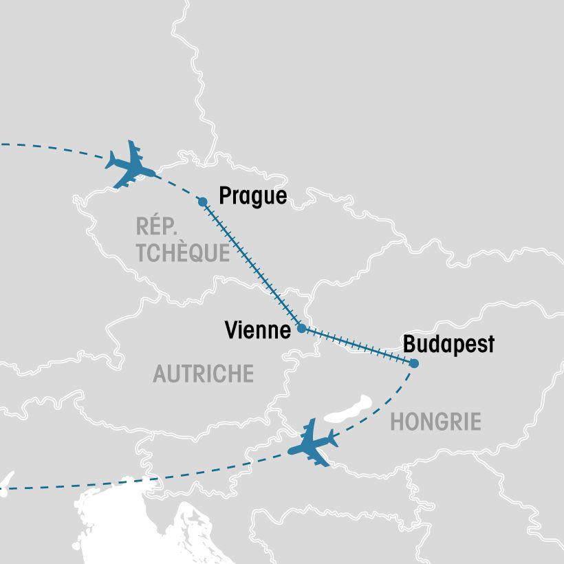 Carte Europe Vienne Prague Budapest.Prague Vienne Et Budapest En Liberte Groupe Voyages