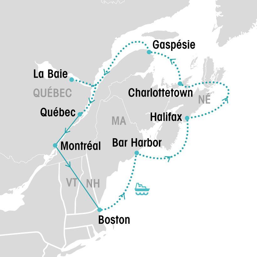 Croisière de Boston à Québec map