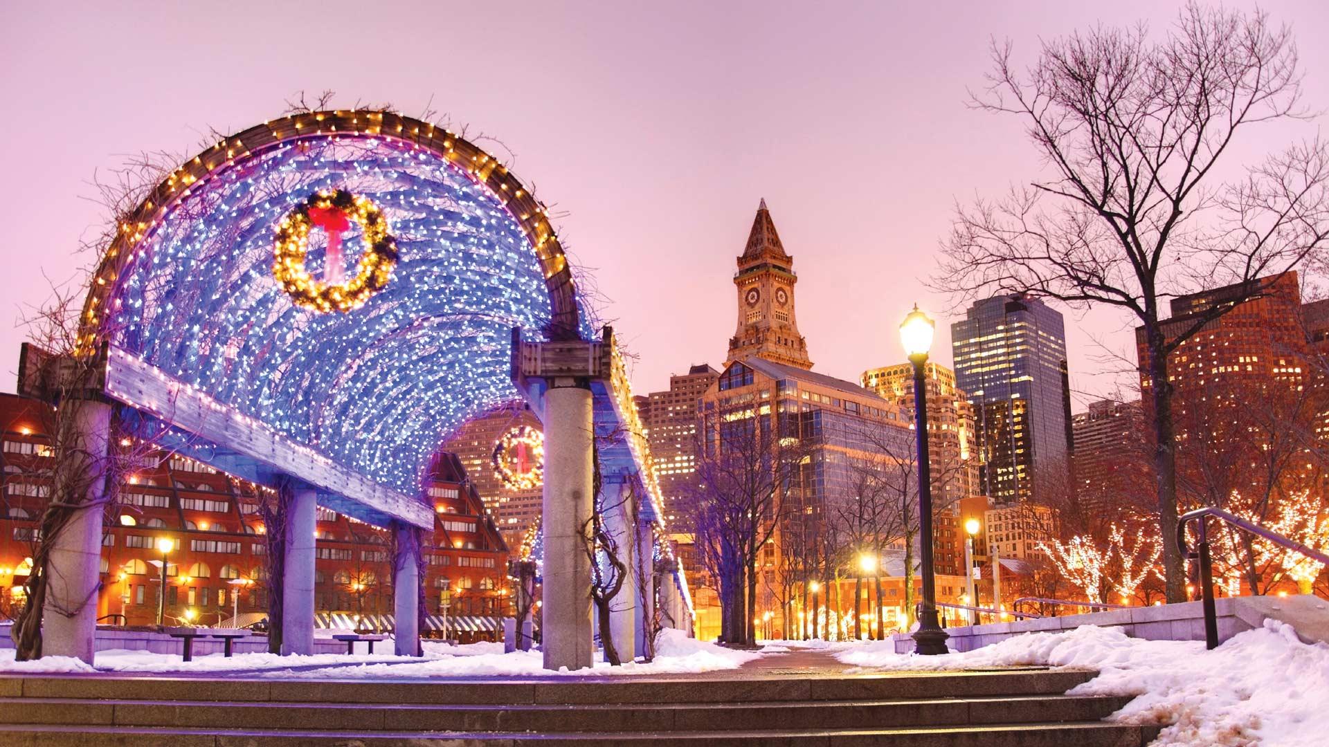 Boston et les châteaux à Noël